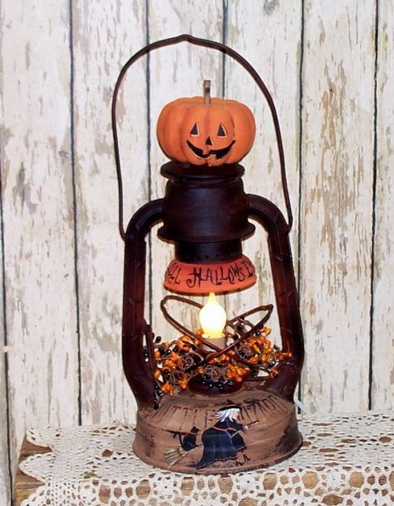 Comwitch Home Decor : Halloween Primitive Witch Lantern Lamp Home Decor Hand Painted Folk ...