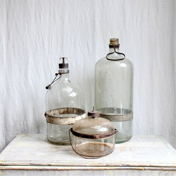 Antique Kerosene Bottle Collection, Glass Bottle, Industrial Decor