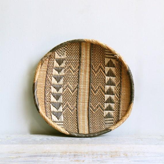 RESERVED //  Vintage Southwestern Basket / Wall Hanging, Navajo, Woven, Chevron