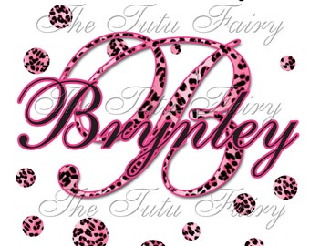 pink cheetah spots name initial personalized birthday shirt t-shirt name age 1st 2nd 3rd 4th 5th 6th 7th