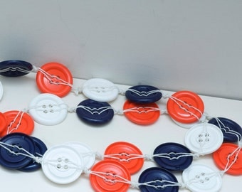 French flag button necklace