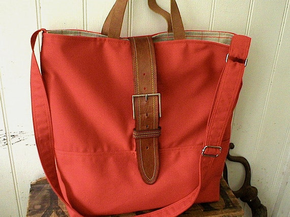 SALE Copper orange canvas leather linen messenger, tote bag - eco vintage fabrics
