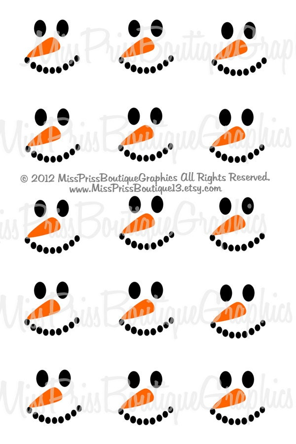 Snowman Face Clip Art 4x6 snowman faces instant