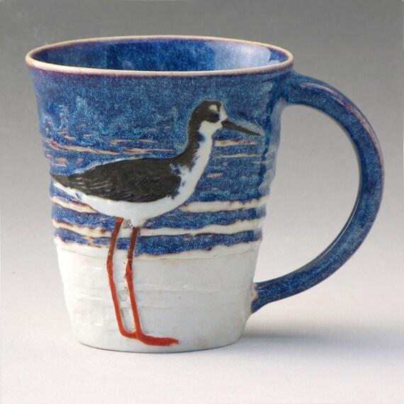 Porcelain Mug--Black-necked Stilt and Beach