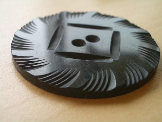 XLG  Carved Bakelite  Single Vintage Button