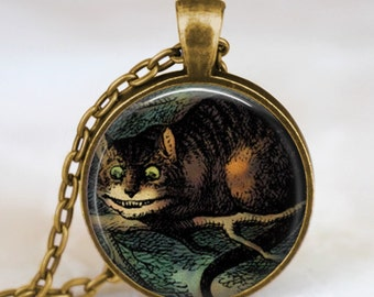 Alice In Wonderland Necklace, Cheshire Cat, glass dome art Necklace, Wonderland, Once Upon a Time fairy tale jewelry