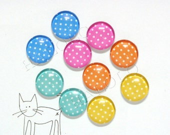10pcs handmade assorted happy color dots round clear glass dome cabochons 12mm (12-0215)