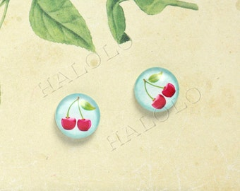 Sale - 10pcs handmade cherry fruit on light blue background clear glass dome cabochons 12mm (12-0491)