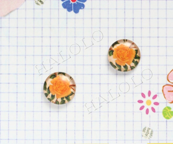 10pcs handmade yellow rose round clear glass dome cabochons 12mm (12-0021)