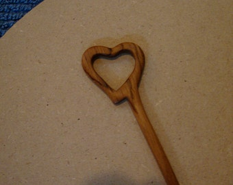 Hair Stick Shawl Pin Heart Shaped from Reclaimed Bubinga Wood heart SHaped