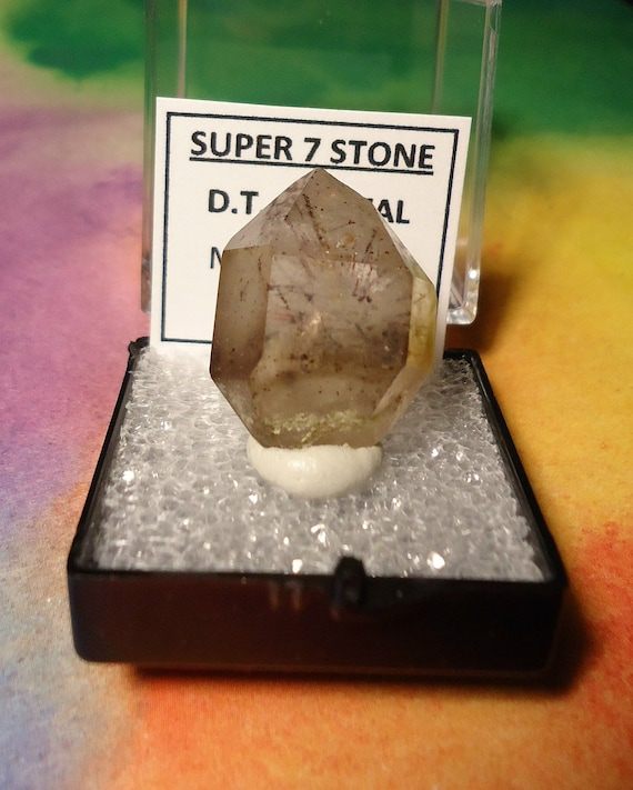 Sale SUPER 7 STONE Natural Double Terminated Mystery Crystal In Perky Mineral Specimen Box From Brazil Deal Of The Day