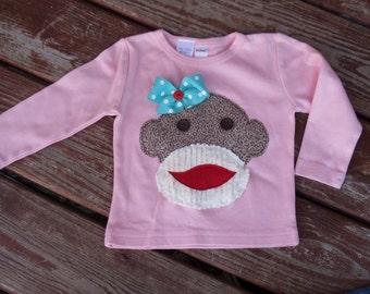 assorted colors / SHORT  or LONG sleeve -- Girls Custom Sock Monkey  T-shirt  SIZES 6-12-18-24 month  2-3-4-5-6-7-8