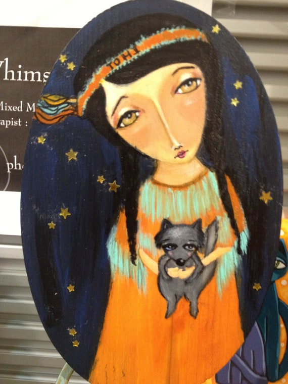Original Acrylic Painting OOAK Angel of Peace TOHI native American Angel indian Girl