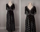 SALE 1960s lillie rubin black polka dot velvet beaded evening gown