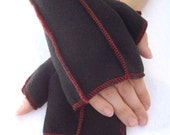 Black Fleece Mittens, Xmittens Fingerless Gloves, RED thread details, size MEDIUM