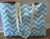 Beach Bag Extra Large - Aqua Blue Chevron Beach Tote - Water Resistant Lining - Interior Pocket
