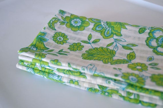 6- Eco Friendly Cloth Napkins, 18 inch Green and Blue Flowers by Dot and Army