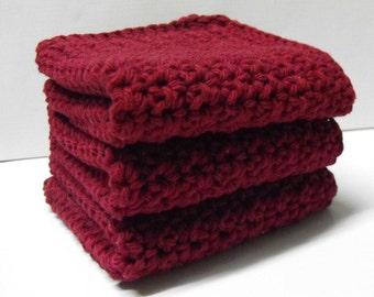 Cotton Crochet Dishcloths or Washcloths set of 3