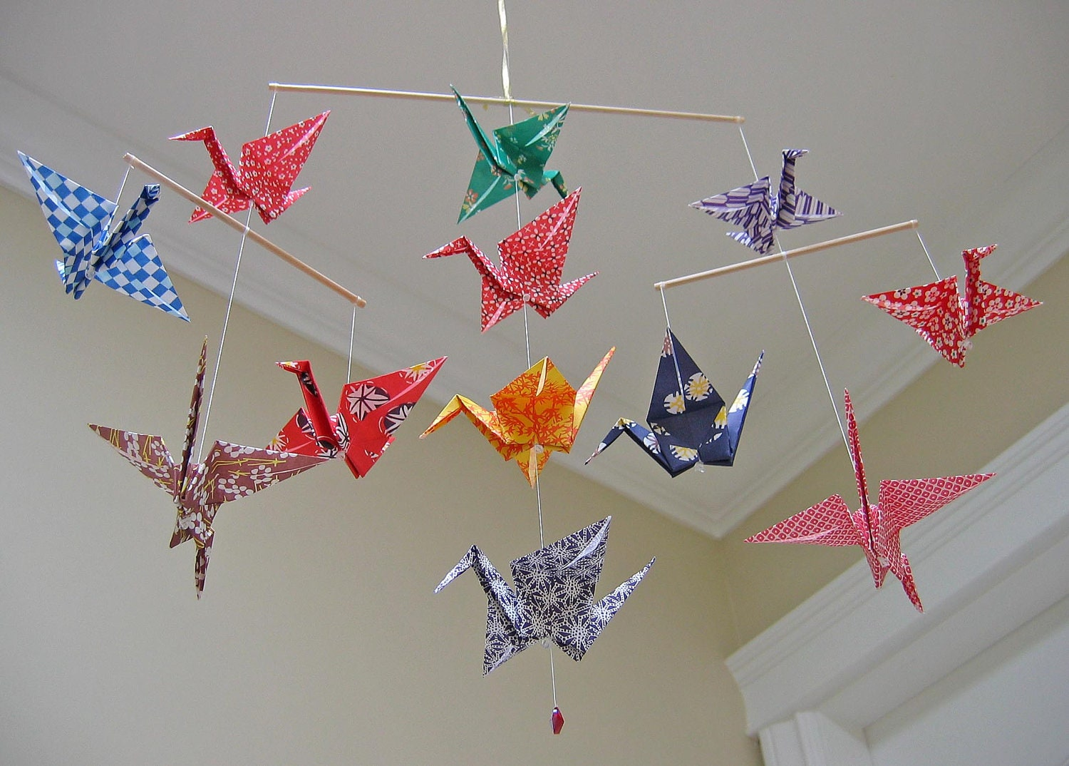 Origami Crane Mobile Heavy Washi Paper Prints Home Decor