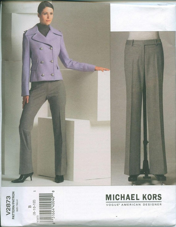 Vogue 2873 Michael Kors Designer Original Pattern Sizes 8-10-12 Dress Pants Pea Coat Blazer