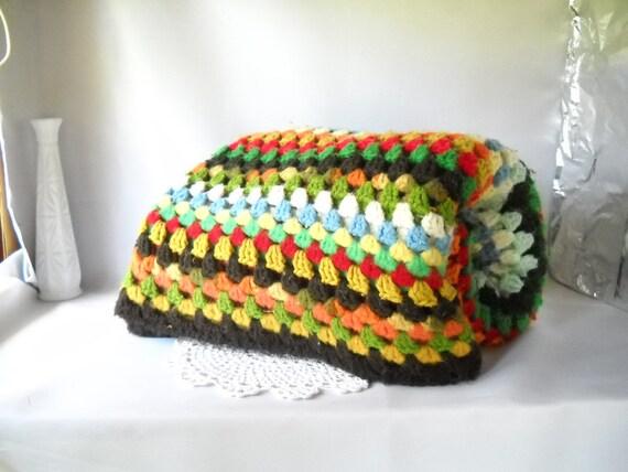 Vintage Blanket Afghan Blanket Granny Square Autumn Colors Fall Decor Geometric Modern