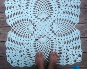 """Robins Egg Blue Cotton Crochet Rug with Pineapple Pattern in 28"""" Square Doily Non Skid"""