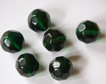 Vintage Emerald Green Bumpy Acrylic Beads 18mm bds253