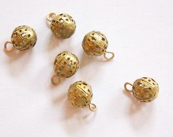 Vintage Raw Brass Filigree Bead Drop Charm 10mm (6) drp057A
