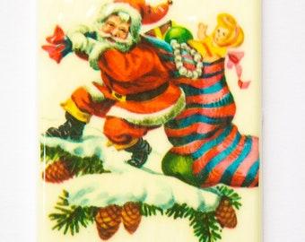 Lg Vintage Retro Santa with Toy Sack Christmas Cabochon 80mm X 45mm cab002C
