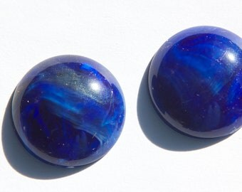 Vintage Blue and White Marbled Acrylic Cabochons 24mm cab822E