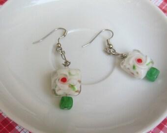 Red and green swirl glass bead earrings