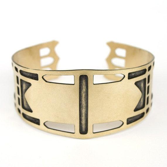 Gold cuff bracelet - St John's Bridge inspired - geometric