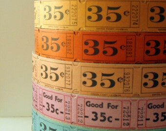 VINTAGE CARNIVAL TICKETS 50 Vintage Tickets Light Orange Lot A