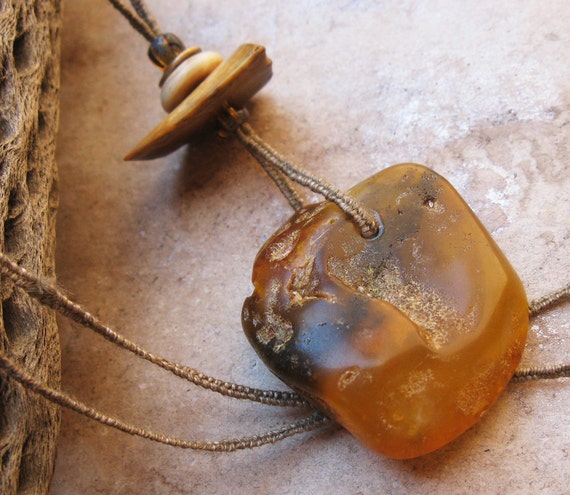 Raw Baltic Amber Pendant with Handwoven Linen Cord and Fossil Ivory