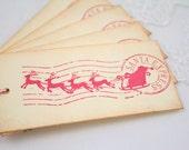 Christmas Tags, Christmas Gift Tags, Christmas Favor Tags,  Santa and Reindeer Tags, Christmas Eve Tags, Set of 6