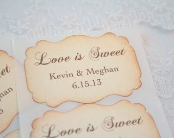 Love Is Sweet Stickers Personalized Wedding Stickers Favor Seals Name and Date  Set of 10