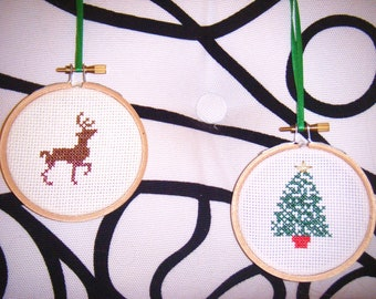 Rudolph the Red Nosed Reindeer Holiday Christmas Tree Ornament Secret Santa Handmade Cross Stitch Sampler