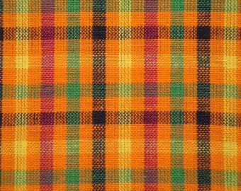 Cotton Homespun Material | Quilt Fabric | Check Fabric | Orange, Fushsia, Yellow, Navy And Green Check Material 1 Yard