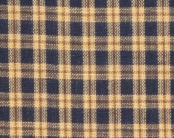 Homespun Material | Cotton Material | Plaid Material | Quilt Material | Navy Plaid Material | 1 Yard
