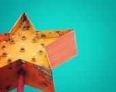Yellow star, rusty sign, retro modern, tangerine tango, star sign, orange, ruby red, teal, turquoise, rust, roadside motel, mid century