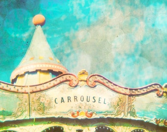 Carousel photography print, circus photo, home decor, nursery art, turquoise, merry go round, wall decor - Carousel 8x10