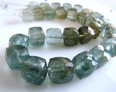 1/2 STRAND--Natural Moss Aquamarine Faceted 3D Cubes