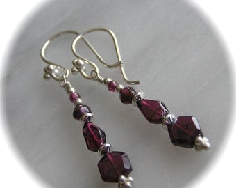 Garnet earrings - January Birthstone -Pat's Gorgeous Garnet and Sterling Silver Dangle Earrings