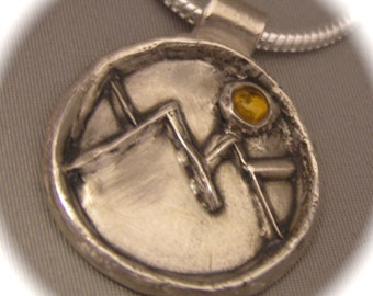 Sunny Mountain Pendant in Recycled Silver with Citrine - Personalization - large