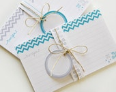 Printable and Editable Recipe Cards and Matching Gift Tags (PDF 3x5 or 4x6 double sided) - BLUE Chevron