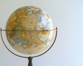Vintage Replogle Globe World Classic Floor Stand / Sepia