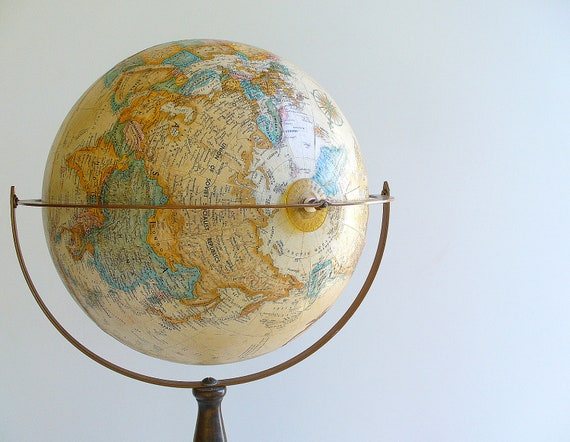 Vintage Replogle Globe World Classic Floor Stand / Sepia
