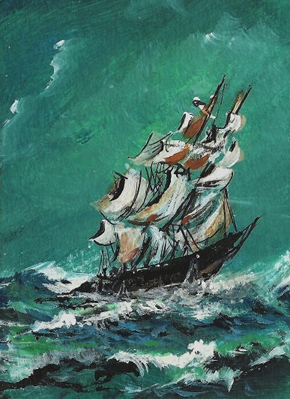 ACEO Oh Captain My Captain Ship Painting by Michele Bruce Carter - Miniaturist