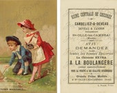 French Tradecard, Etudes Maritimes, front & back advertising Instant Download gift tag - TC001