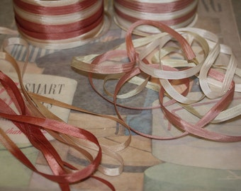 """Vintage Rayon Variegated 1/4"""" Ribbon, Trim 5 yds, in your choice of colour for Scrapbooking, Dolldressing, Tags  VT007"""